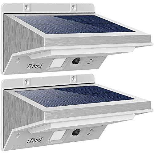 iThird - Luci solari per esterni, con sensore di movimento, in acciaio inox, a energia solare, per cortile, cortile, garage, impermeabile, super luminoso, confezione da 2 (luce bassa)