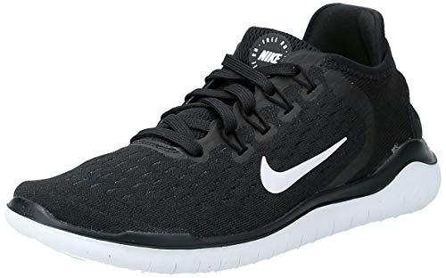 Nike Women's Free RN 2018 Running Shoe (5, Black/White) (Shoes)