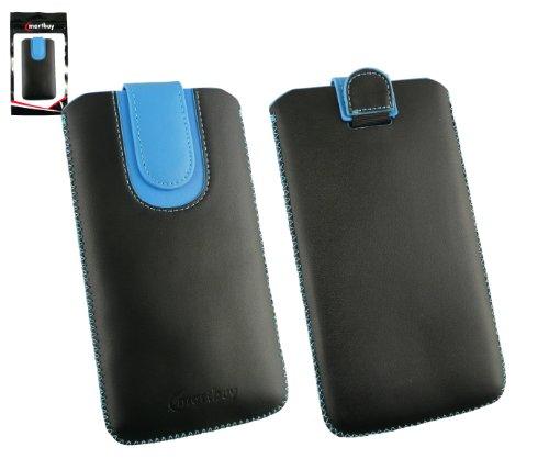 emartbuy® Schwarz/Blau Premium PU Leather Tasche Hülle Schutzhülle Hülle Cover (Größe 5XL) Mit Ausziehhilfe Geeignet für Wiko Ridge Fab 4G