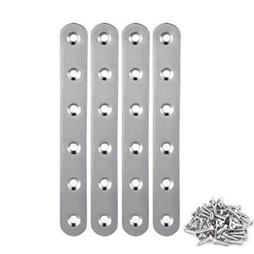 4 Pieces Stainless Steel Straight Brace (6.1 x 0.7 inch,156 x 18 mm) Flat Straight Braces, Straight Brackets, 24 Pieces Screws Included