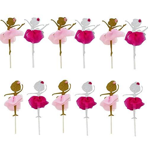 XYDZ Decoraciones para Cupcakes, 12 Unidades Oro Glitter Bailarina Chica Cup Cake Toppers Picks para Fiesta de Cumpleaños Decoración (dos colores)