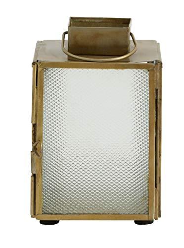 Laterne mit gefrostetem Glas, Antik Gold, in 2 Größen (12 x 8 cm)