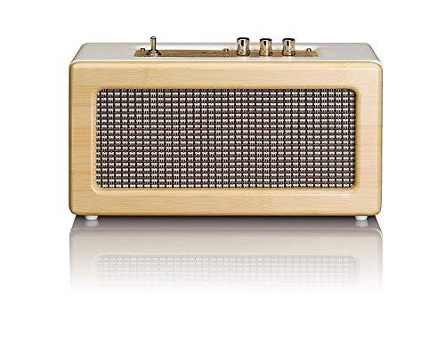 Lenco Bluetooth Lautsprecher BT-300 - tragbarer Retro-Lautsprecher - Stereo 2 x 10 Watt RMS - integrierter Akku mit 1500mAh - 8 Stunden Laufzeit - 3,5mm AUX-IN - Creme/Eiche