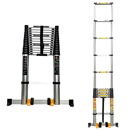 YXX-Teleskopleiter Leiter/Treppenleiter Extra hoch einziehbare Teleskopleiter for Dachzelt, Multi-Purpose Teleskopleiter mit Stabilizer Bar & Räder (Size : 6.2m/20.3 ft)