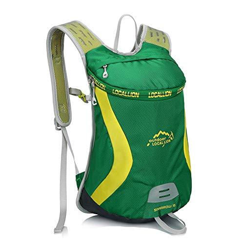 KaiKai Outdoor Radfahren Rucksack mit Reflektor-Streifen Leichte atmungsaktive wasserdichte Durable Großräumige 15L Polyester (Color : Green)