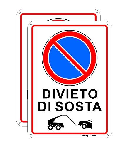 Joffreg Divieto di Sosta,18 x 25 cm,in Alluminio riflettente,2 pz