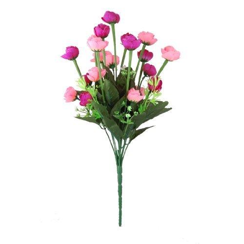 Artificial flor de la camelia Bloom Bush ramo de la boda del rosa fucsia