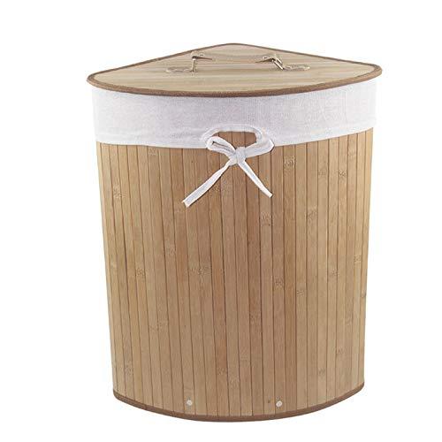 Insun Cesto Ropa Sucia Esquinero, Cubo Colada Plegable con Tapa, Canasta, Bambú, Hecho a mano 30x30x50cm