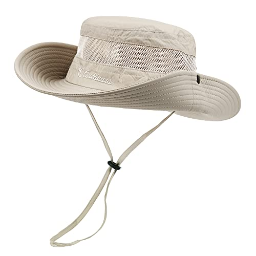 Fishing Hat Wide Brim Sun Hats for Men Women Outdoor Bucket Hat UPF 50+ Summer Sports Hats Beige One...
