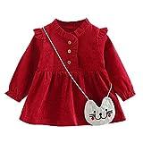 Zegeey Baby MäDchen Kleid Kleinkind Langarm Prinzessin Kleid Kleidung Geburtstag Geschenk(A5-rot,12-18 Monate)
