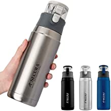 Secura Insulated Water Bottle -- Stainless Steel Thermos Water Bottle for Hot and Cold Drink, 22 Ounce, Sweat Proof Leak-Proof Cap Integrated Handle, Silver