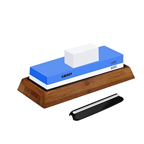 CWINDY 1000/6000 Grit Professional Sharpening Stone Whetstones Knife Sharpening Stones Waterstones Wetstones Wet Stones Knife Sharpener Stones Angle Guide, Bamboo Base and Fix Stone Included