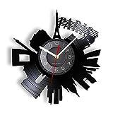 BABYCOW Reloj de Vinilo con Registro de álbum, decoración Francesa, Arte Europeo, Paisaje Urbano de París, Vintage, Reloj de Pared Longplay Recortado