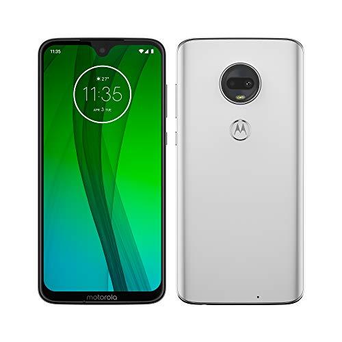 Motorola Moto G7 – Smartphone Android 9 (pantalla 6.2'' FHD+ Max Vision, cámara dual 12MP, 4GB de RAM, 64 GB, Dual SIM), color blanco [Exclusivo Amazon, Versión española]