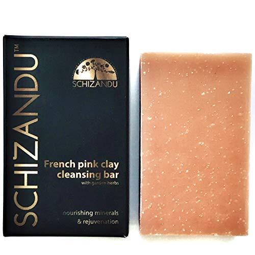 Schizandu Organics Clay Cleansing Bar Soap, Organic Herbal Skin Detox with French Pink Clay | 4 oz. | 100% Pure, Natural Luxury For Skin and Body Detoxification, Moisturizing, Nourishing Beauty Bar