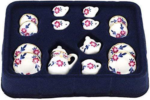 hsj 12.01 Puppenhaus Miniatur Essgeschirr Porzellanteesatz 15pc Weiß mit Blumen Exquisite Verarbeitung