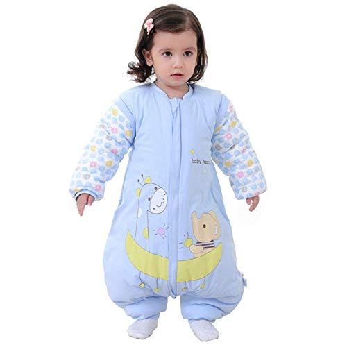 Saco de Dormir para bebé con piernas Saco de Dormir de Invierno de Manga Larga con Forro cálido para Invierno con pies 3.5Tog ( Azul 12-24 Meses)