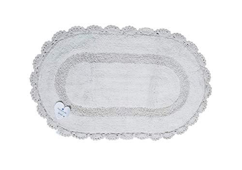 EURONOVITA' SRL ITALY Tappeto Morbido, Tappetino Bagno Ovale Antiscivolo in Cotone, 50x80 (Bianco)