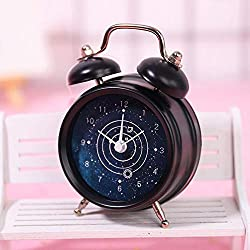 WJQQ 2 Double Bell Travel Alarm Clock, Ultra-Quiet Metal Table Clock, Battery Operated, Best Home Decororations for Home OfficeBlack-A