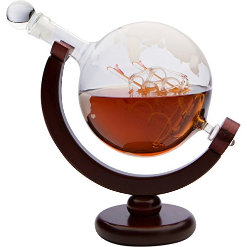 Monterey Crystal 850ml Etched Globe Whiskey Decanter with Antique Ship...