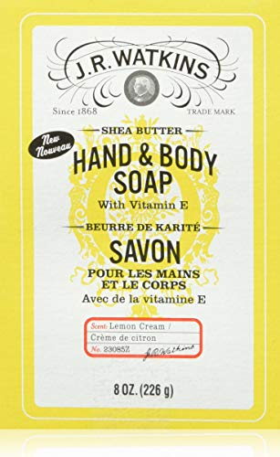 JR Watkins Natural Hand and Body Bar Soap, Moisturizing Bath and Shower Soap for Women and Men, Shea Butter, USA Made and Cruelty Free, 8oz, 8 oz, Lemon Cream