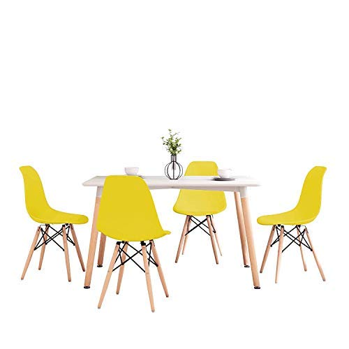 Joolihome - Mesa de comedor Eiffel de 120 cm y 4 sillas de madera para oficina, sala de cocina, oficina (mesa blanca+silla amarilla*4)