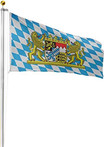 normani Alu Fahnenstange, Bayern oder Deutschland Flagge, Fahne zur Fussball WM/EM NEU - (6,20m bis 9m) Farbe Bayern Größe 6.50 Meter