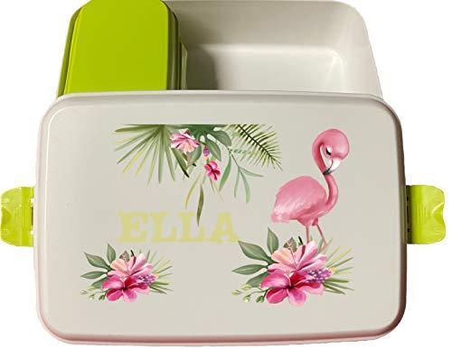 wolga-kreativ Brotdose Bio Kunststoff Flamingo Blumen mit Obsteinsatz für Mädchen Lunchbox Bento Box personalisiert Brotbüchse Brotdosen Kindergarten Schule mit Namen Bedruckt