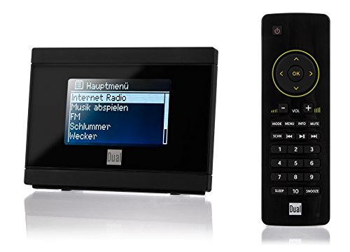 Dual IR 2A Internetradio-Adapter für Stereoanlage (WiFi, UKW, UPnP, 3,5 mm Klinke) mit Uhr-/Alarmfunktion inkl. Fernbedienung schwarz