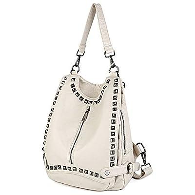 UTO Women Backpack Purse PU Washed Leather Rivet Studded Convertible Ladies Rucksack Shoulder Bag B White
