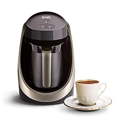 SAKI Turkish Coffee Maker, 120V, 1 to 4-Cup Brewing Capacity, 100% BPA Free, Ember Function for Perfect Cup of Turkish, Greek Coffee - Black