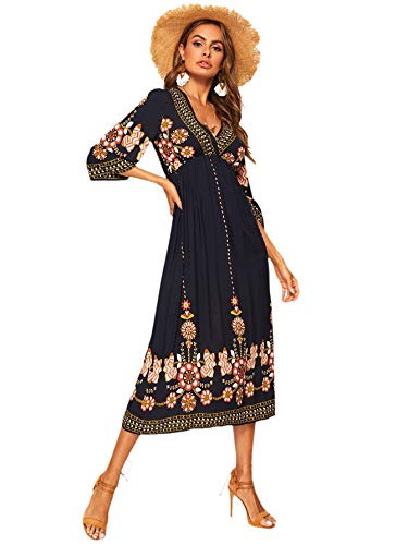 Romwe Women's Floral Print Deep V Neck 3/4 Sleeve A-Line Bohemian Tribal Boho Midi Dress Multicolored Medium