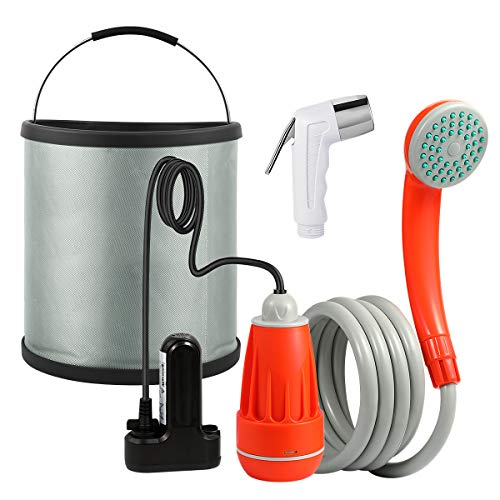 KEDSUM Portable Camping Shower, Camp Shower Pump, Rechargeable Portable Shower, (+ Handheld Bidet Toilet Sprayer & Collapsible Bucket) Portable Outdoor Shower Head for Camping, Hiking, Traveling