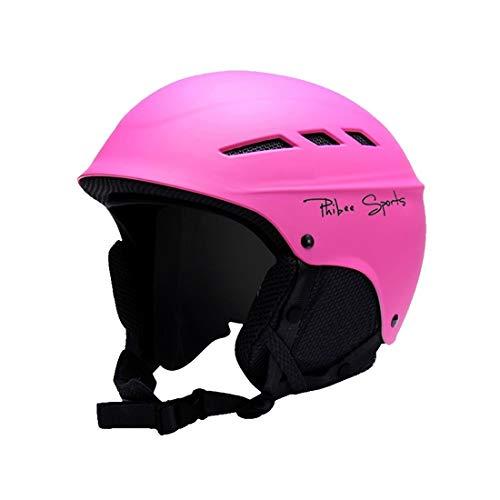 Open skihelm, professionele beschermplaat van de helm met 8 luchtuitlaten, polycarbonaatgesp tussen ouders en kinderen, veiligheidshelm, maat M, geschikt voor 56 – 60 cm (roze-rood) van een