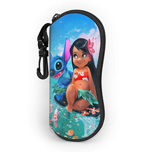 Eyeglass Case Anime Lilo Stitch Moana Sunglasses Case Ultra Soft Light Neoprene Zipper Eyeglass Case with Belt Clip