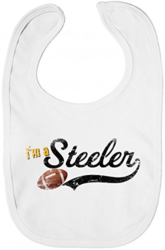 I\'m a Steeler #1 Babybib | Football | Super Bowl | Play Offs | USA |, Farbe:Weiß (White BZ12);Größe:OneSize