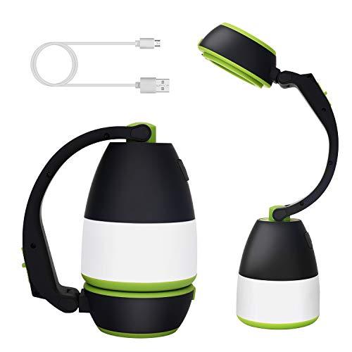 SYTUAM LED Campinglampe,Multifunktion wiederaufladbare dimmbar wasserfesteLED Taschenlampe mit Powerbank,350lm Tragbare Tischlampe,für Camping, Wandern, Lesen, Stromausfälle.