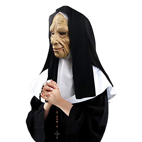 Máscara de Monja con Velo, Accesorios de Disfraces de látex de Halloween Máscara Facial de anciana con pañuelo en la Cabeza