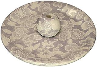 9-54 桜友禅 紫 お香立て 9cm香皿 お香たて 陶器 日本製 製造 直売