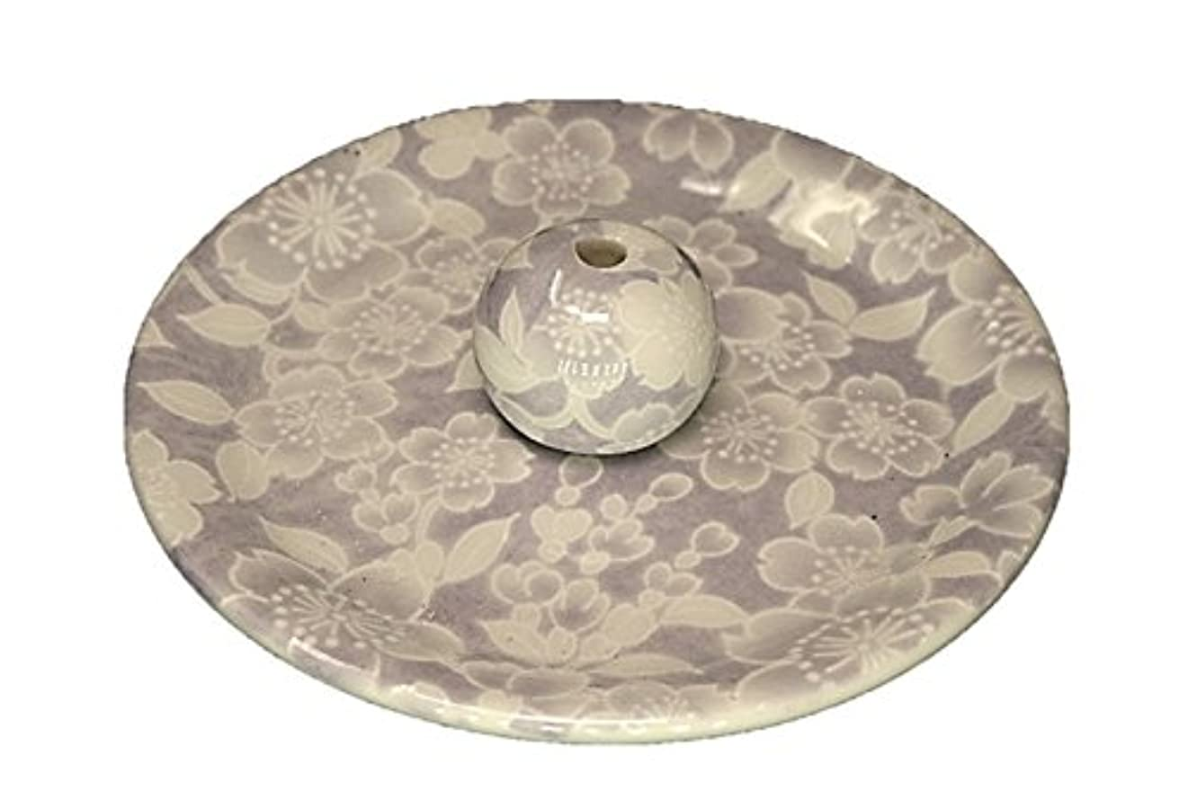 処理するシーズン居心地の良い9-54 桜友禅 紫 お香立て 9cm香皿 お香たて 陶器 日本製 製造 直売