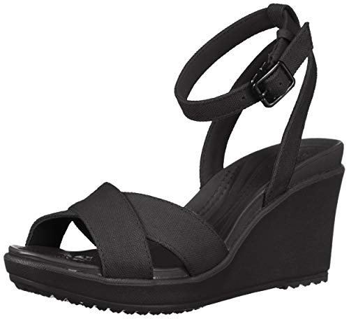 Crocs Women's Leigh II Cross-Strap Ankle Wedge Sandal, Black/Black, 9 M US