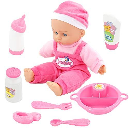 Muñeco Bebe Reborn Reales Muñecas para Niñas 25 cm con 9 Accesorios Muñecos Bebe Blandito Interactivo Bebes Muñecos Juguetes Niños 3 4 5 6 Años (Color Rosa)