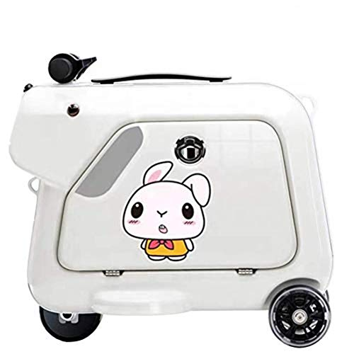 GOLDGOD Travel Suitcase, Children's Smart Riding Suitcase Electric Student Trolley Boarding Suitcase Travel Portable Trolley Travel Storage Case,White