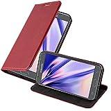 Cadorabo Hülle für Samsung Galaxy J5 2017 in Apfel ROT - Handyhülle mit Magnetverschluss, Standfunktion und Kartenfach - Case Cover Schutzhülle Etui Tasche Book Klapp Style