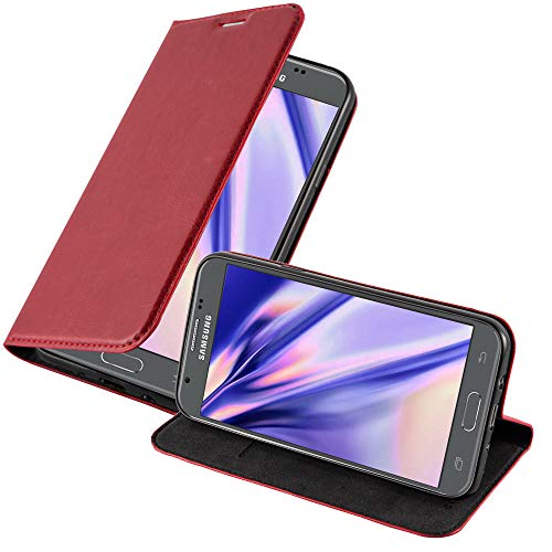 Preisvergleich Produktbild Cadorabo Hülle für Samsung Galaxy J5 2017 US Version in Apfel ROT - Handyhülle mit Magnetverschluss,  Standfunktion und Kartenfach - Case Cover Schutzhülle Etui Tasche Book Klapp Style