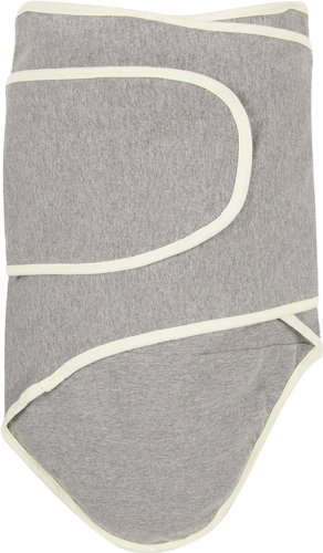 Miracle Blanket Swaddle Wrap for Newborn Infant Baby, Grey with Yellow Trim