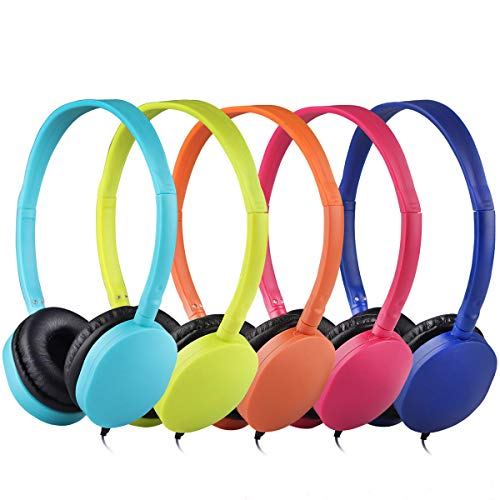 Kids Headphones Bulk 10 Pack Multi Colored for School Classroom Students Kids Children Teen and Adults (Mixed Colors)