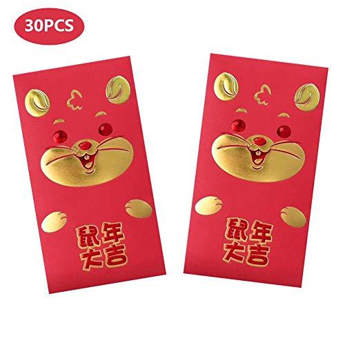 Enveloppes Rouges Chinoises Enveloppe dArgent Chanceuses pour 2020 Nouvel An F/ête du Printemps de Souris Cadeau d/'Anniversaire de B/éb/é Enveloppe dArgent de Mariage Graduations 36 Pi/èces