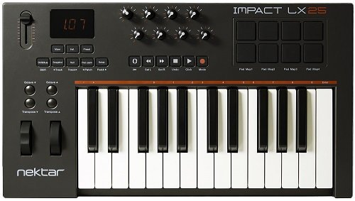 Nektar Impact LX25 25 note USB keyboard controller with pre-mapped integration for Cubase, Digital Performer, Garageband, Logic, Sonar & Studio One