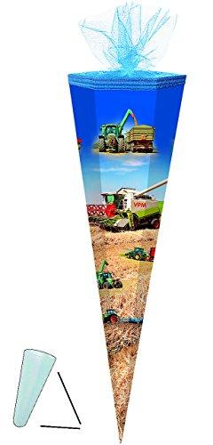 alles-meine.de GmbH Schultüte -  Traktor / Landmaschinen  - 85 cm - 6-eckig - Tüllabschluß - Zuckertüte - mit / ohne Kunststoff Spitze - für Jungen / Mähdrescher / Traktoren - ..